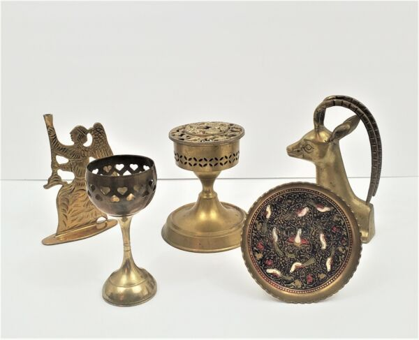 Lot of 5 Vintage Brass Decorative Collectible Items