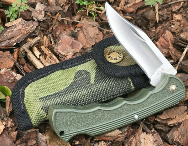 Buck Knives 422 Bucklite 112 Ranger With Green Handle amp; Camo Sheath