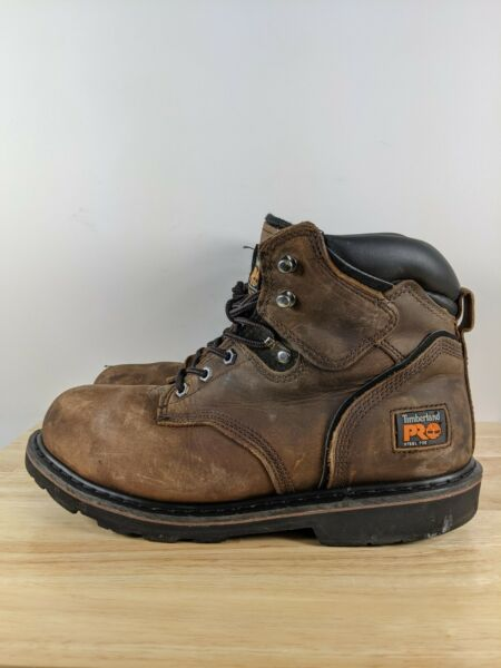 Timberland Pro Men#x27;S Pit Boss 6quot; Steel Toe Work Boots 33034 Brown Sz 9 Wide $54.99
