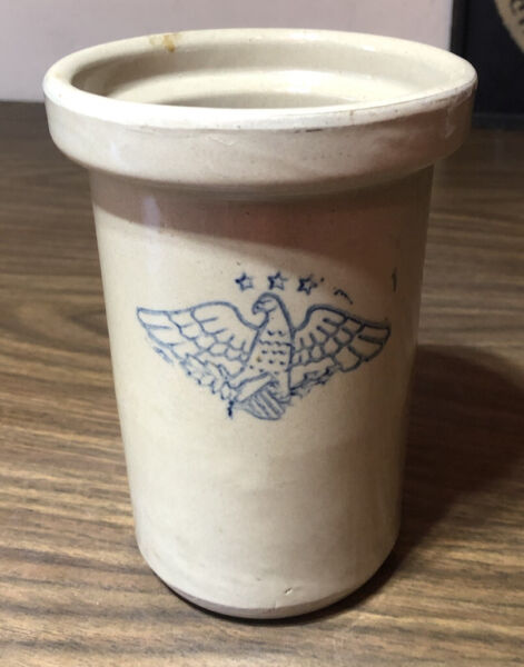 Vintage Eagle Stars Shield Salesman Sample Blue Butter Churn Stoneware Crock