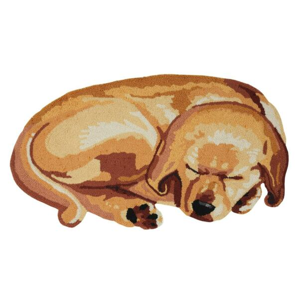 Sleeping Puppy Area Rug Cute Hand Hooked Dog Shaped Accent Carpet 37quot; x 21quot; $34.95