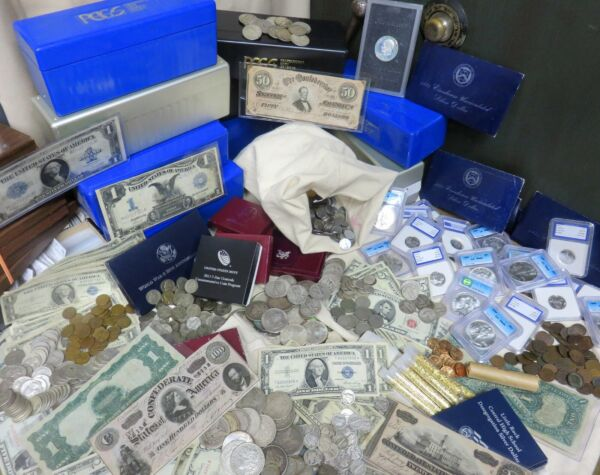 💲 ESTATE LOT OLD US COINS GOLD $5 CURRENCY 💲 SILVER BULLION 💲 MONEY HOARD 💲