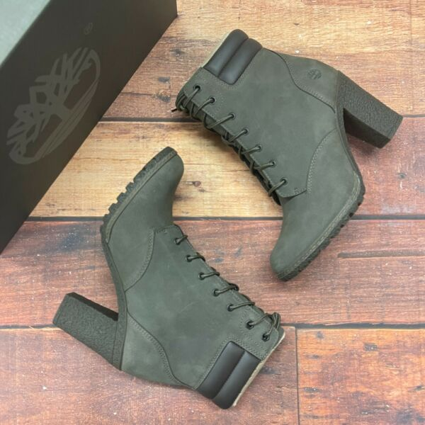Timberland Women#x27;s Tillston Olive Green Leather Boots $144.99
