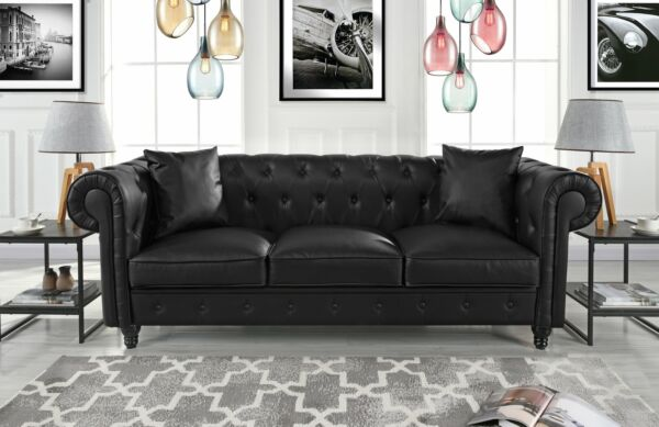 Leather Chesterfield Sofa PU Leather Tufted Sofa Black Couch Accent Pillows 2 $479.99