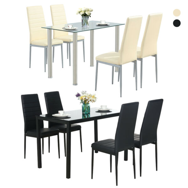 Glass Metal 5 Pieces Dining Table Furniture Sets 4 Leather Chairs Breakfast Nook $219.99