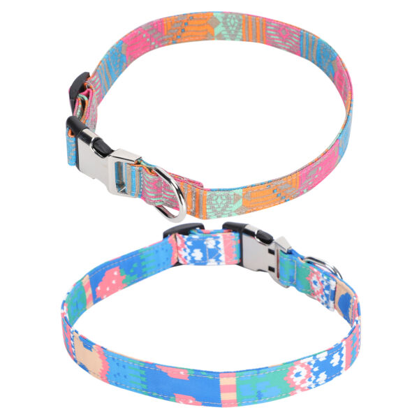 Dog Puppy Collar Adjustable Buckle Collars Colorful Pattern Pet Choker Accessory $6.42
