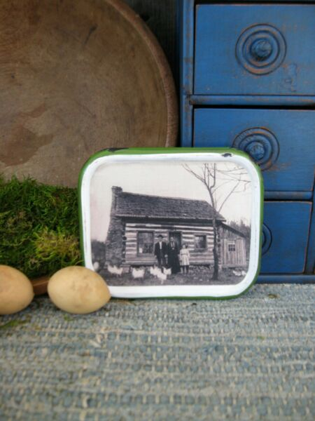Small Antique Enamelware Lid w Old Photo Print Cabin w Chickens