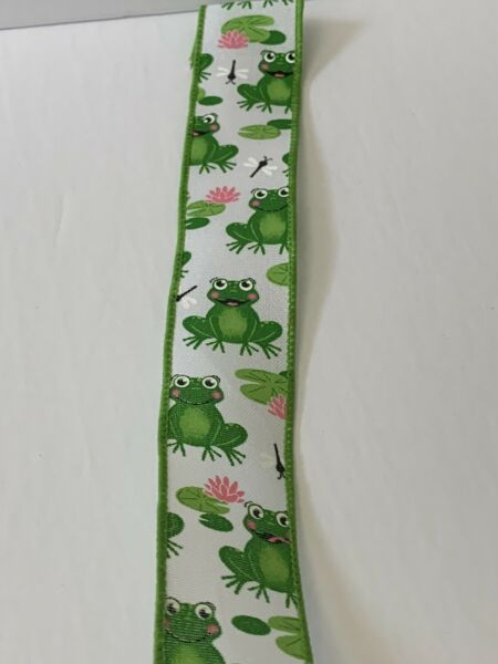 """10 Yds Of 1 1 2"""" Wired White Faux Burlap Ribbon Green Frogs Dragonflies Lily Pad"""