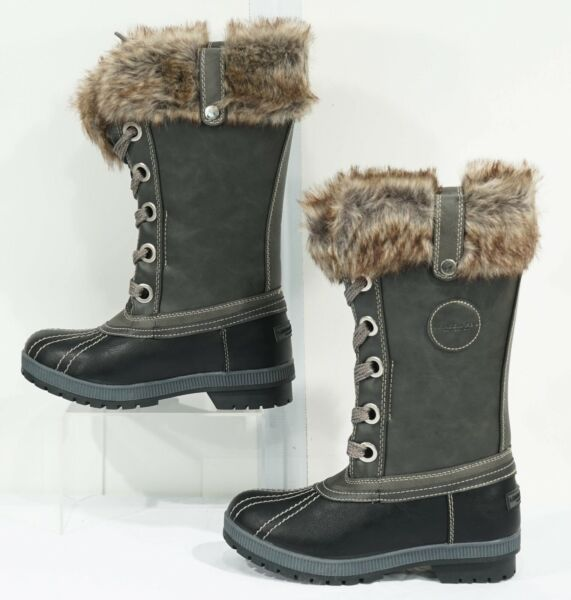 NIB London Fog Gray Water Resistant Faux Fur Melton 2 Snow Boots Sz. 7