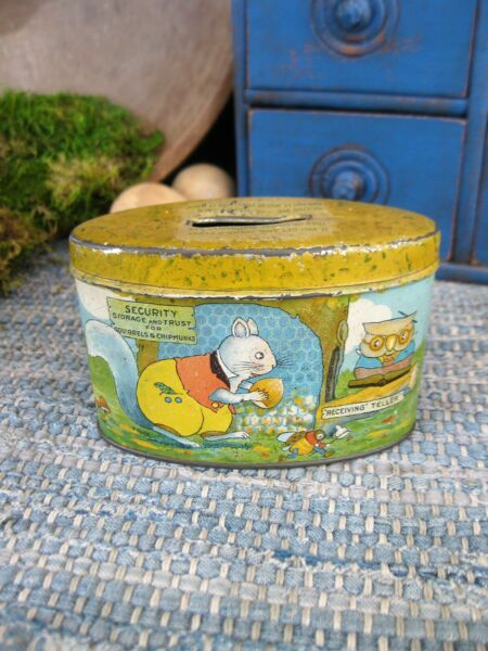 Small Antique Tin Bank Security Storage and Trust for Squirrels and Chipmunks