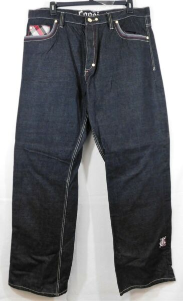 Gently Used Coogi Black Embroidered Straight Leg Jeans Sz. 42x35 $26.99