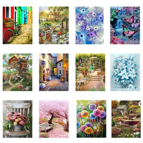 Flower House 5D Full Drill Square Diamond Painting Embroidery Cross Stitch DIY $12.67