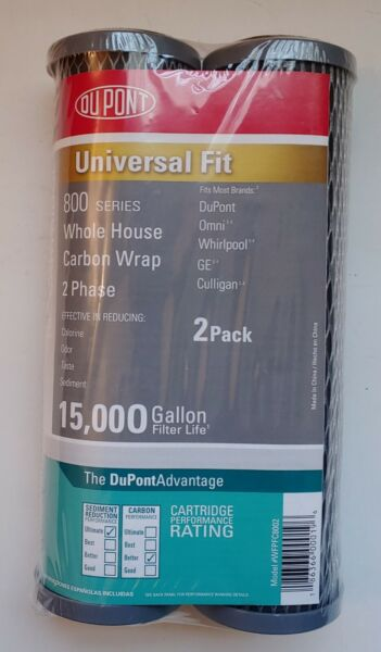 Twin Pack Dupont 800 Series 10quot; Whole House Carbon Wrap Water Filters $15.30