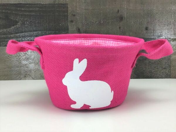 Pink Burlap Easter Basket White Bunny Silhouette 🐇 Pink Gingham Interior