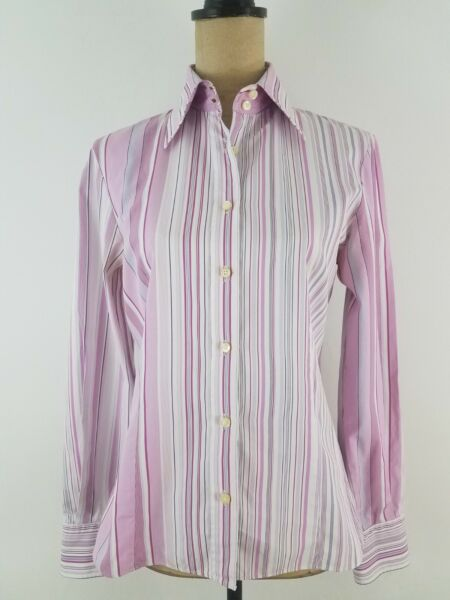 Etro Milano Women Shirt Size 4 Pink White Stripe Poplin Button Down Long Sleeve $39.50