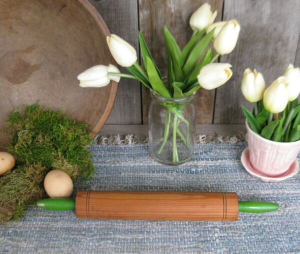 Small Antique Wood Rolling Pin Original Green Paint