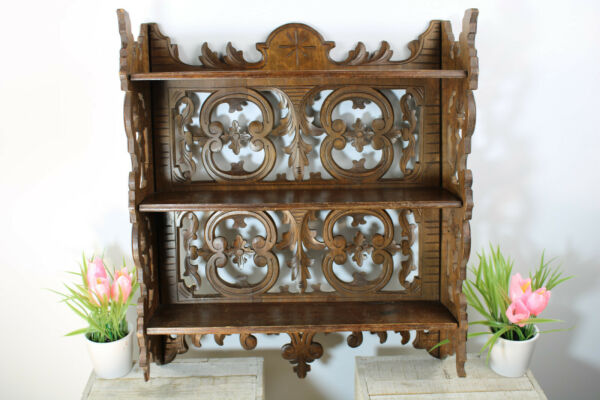 Antique Black forest wood carved wall console rack shelf