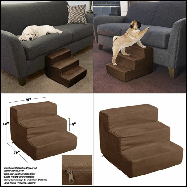 Easy 3 Steps Dog Stairs for High Bed Pet Cat Ramp Ladder with Removable Cover
