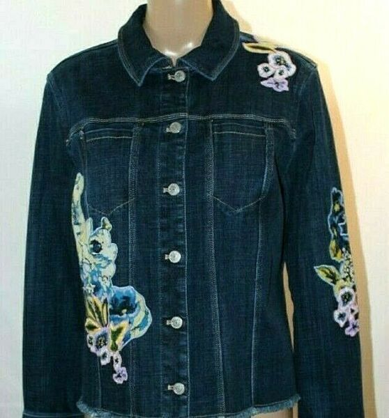 Chicos Blue Denim Jacket White Blue Pink Yellow Embroidered Flowers Applique L