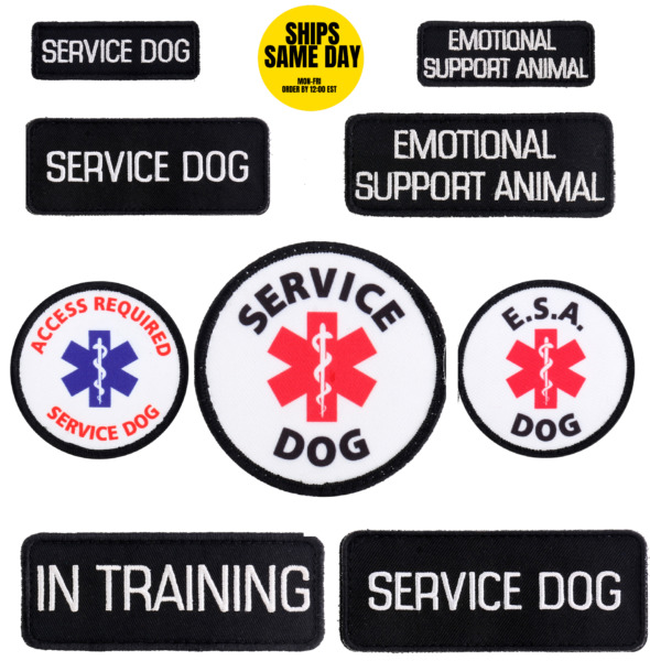 SERVICE DOG EMOTIONAL SUPPORT ANIIMAL ESA E.S.A. PATCHES SMALL MEDIUM ROUND $9.45