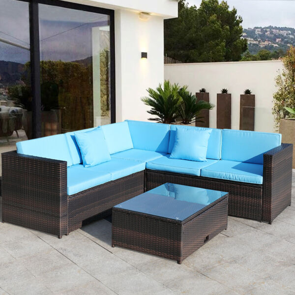 Outdoor Patio Rattan Wicker Sofa Set 4 Piece Sectional Sofa Couch Yard Garden