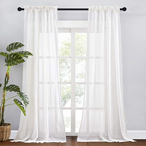 RYB HOME White Sheer Curtains Natural Linen Blend Burlap Curtains Extra Long for