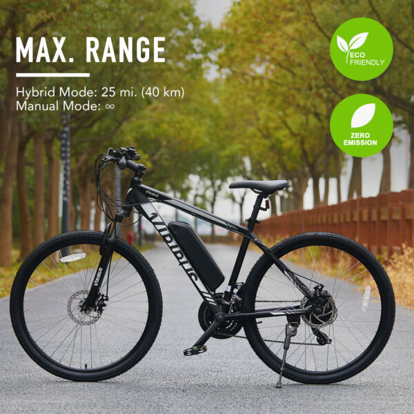 Electric Mountain Bike 21 Speed with Dual Disc Brakes 27.5 Inch E Bike Bicycle