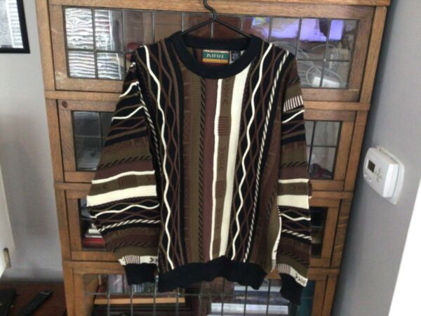 VTG 90s Attui Coogi Style Textured Brownish 3D Sweater Biggie Cosby SZ L Cool $30.59