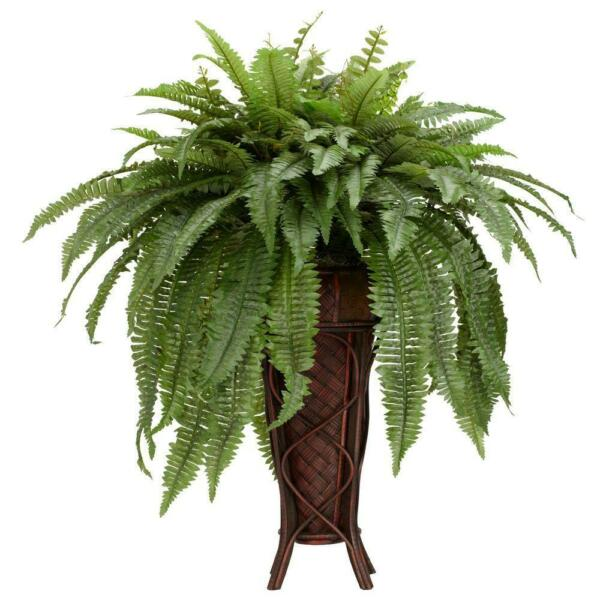 Nearly Natural Artificial Plant 38 in Green Boston Fern Plastic Indoor Stand $141.54