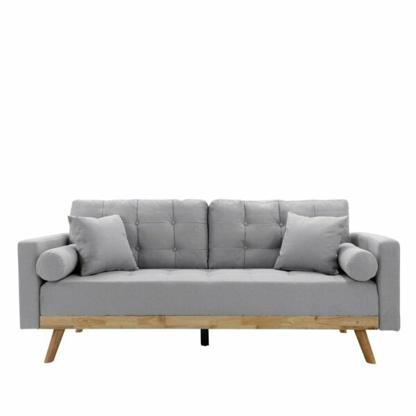 Mid Century Sofa Vintage Style Couch with Wood Frame and Legs Tufted Light Grey