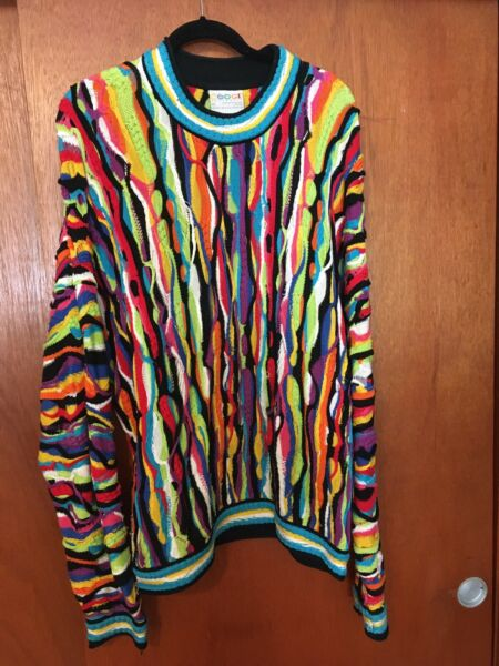 Vintage Authentic Coogi Sweater Size XL Handmade in Australia Vibrant Colors $260.00