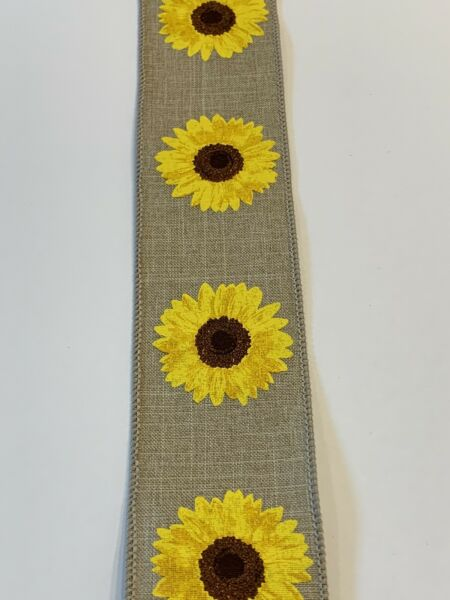 """10 Yds Of 2 1 2"""" Wired Beige Faux Burlap Ribbon With Bright Yellow Sunflowers"""