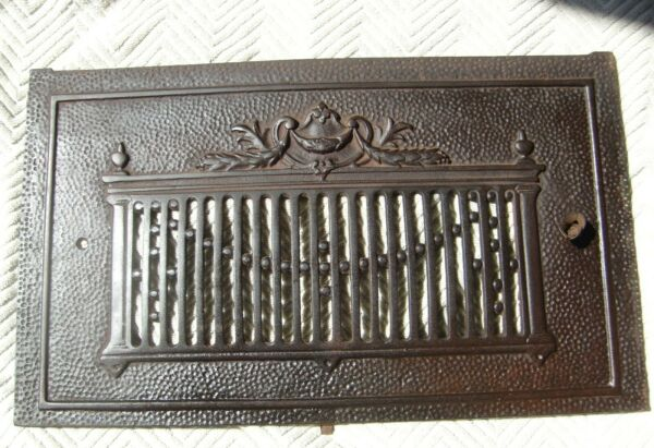 Antique Cast Iron Fireplace Hearth Grate Cover 20.5quot; x 12quot; Signed quot;OCquot;