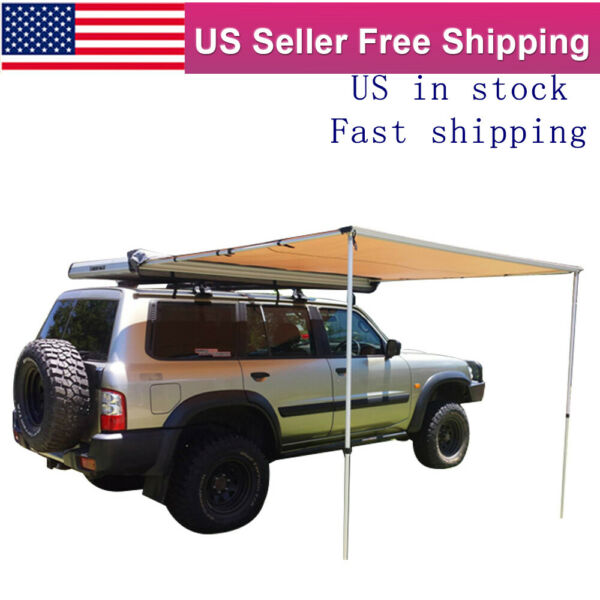 Waterproof Car Side Awning Rooftop Pull Out Tent Heavy Duty Shelter Black 6#x27;*6#x27; $169.09