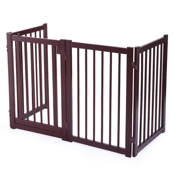 Configurable 30quot; Folding Free Standing 4 Panel Wood Pet Dog Safety Fence w Gate $59.99