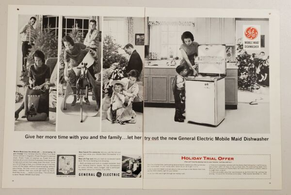 1963 Print Ad General Electric Mobile Maid Dishwashers Family at Christmas $13.48