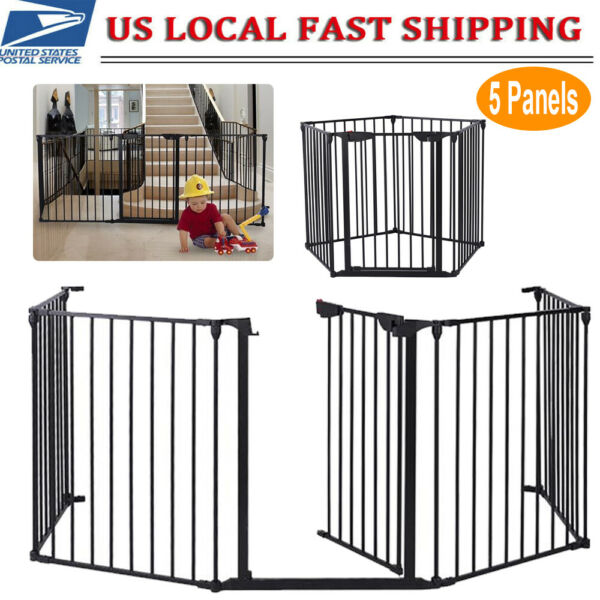 5 Panels Tall Dog Playpen Large Crate Fence Pet Play Pen Exercise Cage Fireplace