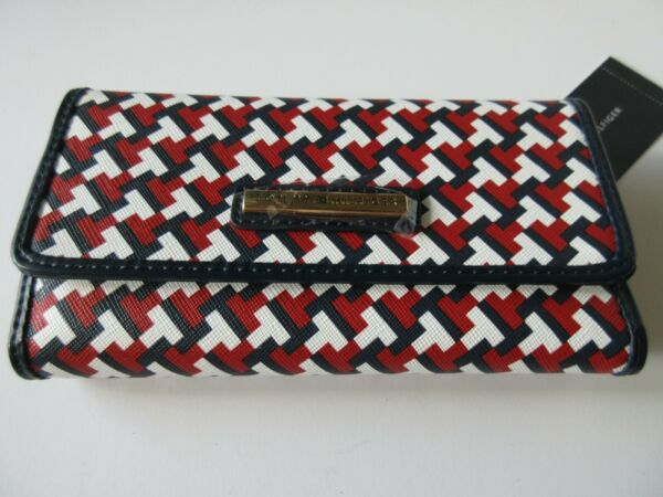 Tommy Hilfiger Women#x27;s Checkbook Wallet Red White Blue Signature Tommy Logo NWT $27.99