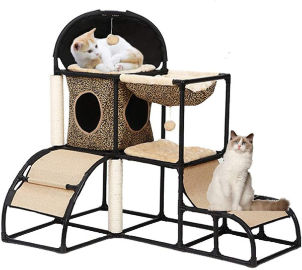 Cat Tree for Large Cats Super Stable Cat Furniture with Scratching Posts Hammock