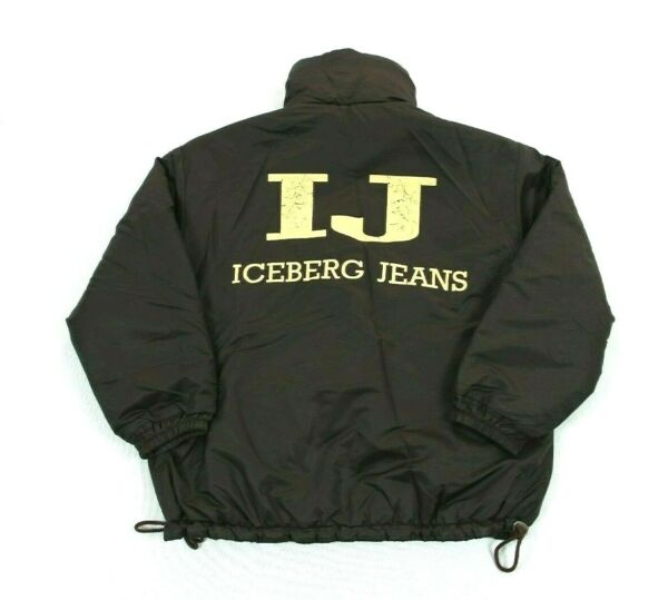 Vtg Iceberg Jeans Mens Reversible Puffer Jacket Coat Made In Italy Brown Size 44 $39.99