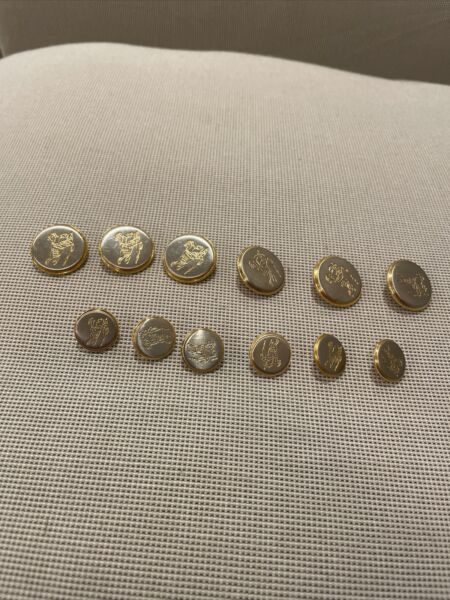 BURBERRY Set Of 12 Prorsum Knight Logo Blazer Buttons Gold Tone 6 Front 6 Sleeve $35.00