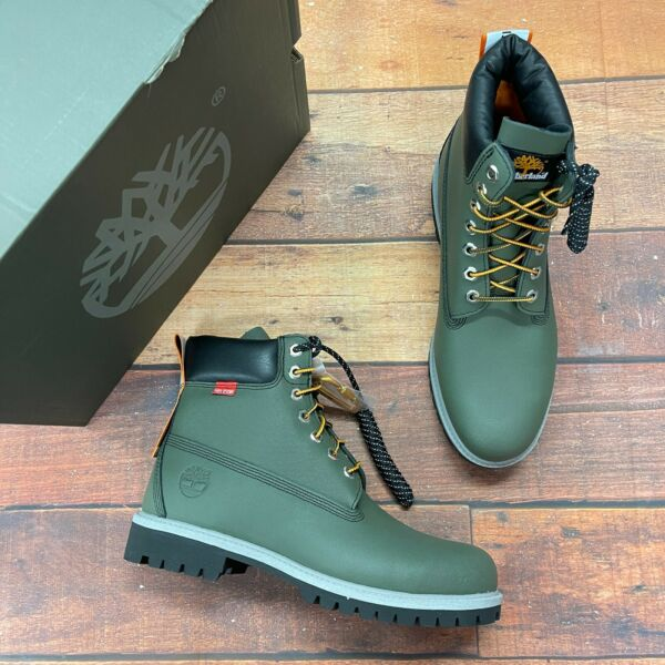 Timberland Men#x27;s Premium 6 Inch Helcor Leather Dark Green Boots A2NBA $199.99