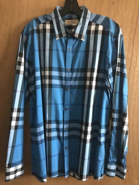 Burberry Mens Signature Check Long Sleeve Button Down Shirt Size XXL $150.00