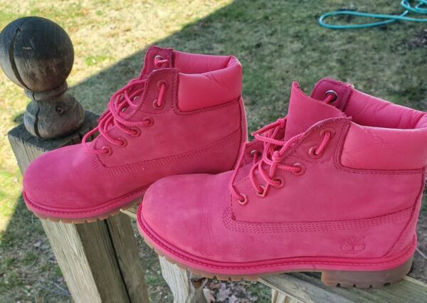 Timberland Pink Suede Leather Boots Youth Size 3 $40.00