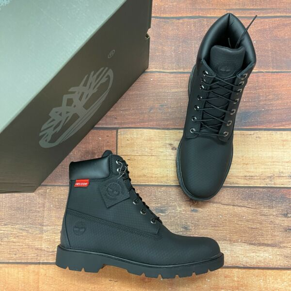 Timberland Men#x27;s Classic 6 Inch Black Helcor Leather Boots 6335A $179.99