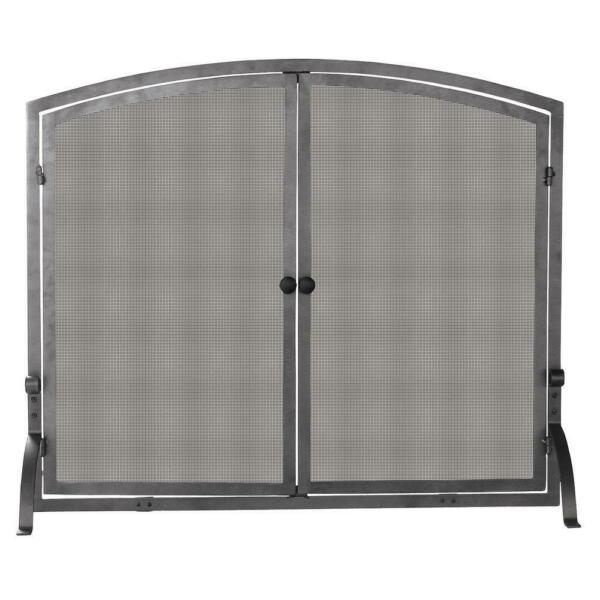 UniFlame Fireplace Screen Doors Heavy Guage Mesh Iron Single Panel Durable Black