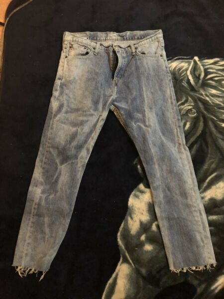 Levis 510 Skinny {34x36 3 8} Melted Blue Ice Jeans Rare Cut Off Hem *Broken In* $49.99