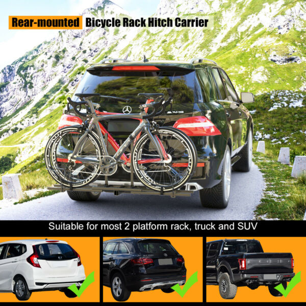 2 Bike Carrier Platform Hitch Rack Bicycle Rider Mount Sport Fold Receiver 2quot; $85.43