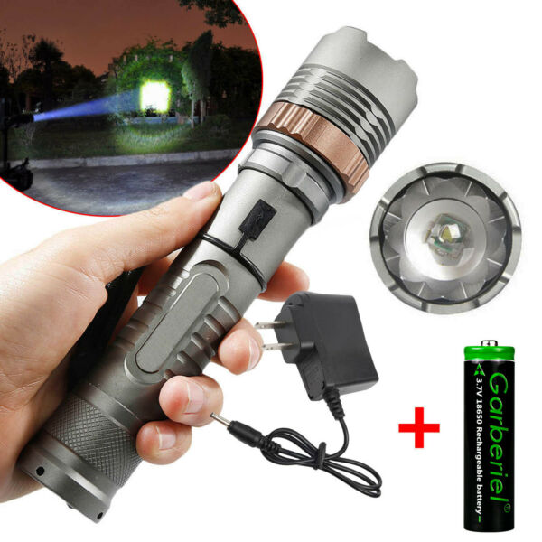 Rechargeable 900000LM Camping LED Flashlight T6 Tactical Police TorchBattChar
