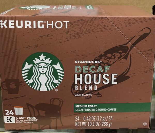 Starbucks Decaf K Cup Coffee Pods House Blend for 96 Count Exp 29 jan 2020